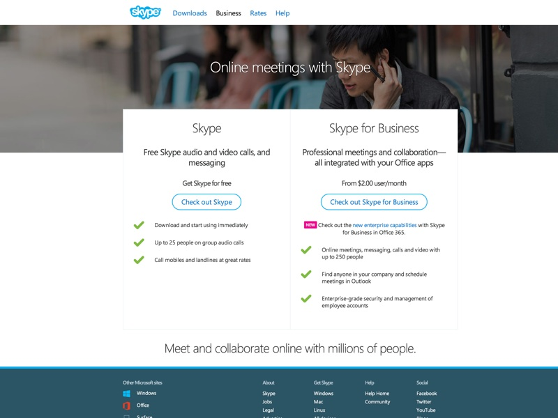 Skype provides cost effective and collaborative tools for businesses of any size
