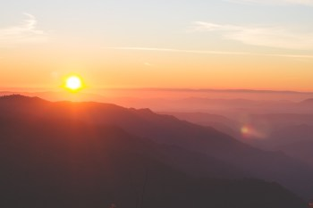 Sun rising on a beautiful mountain range