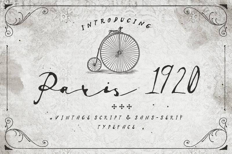 Paris 1920 - Script Like Save Paris 1920 - Script - 1 Paris 1920 - Script - 2 Paris 1920 - Script - 3 Paris 1920 - Script - 4 Paris 1920 - Script - 5 Paris 1920 - Script - 6 Paris 1920 - Script - 7 Paris 1920 - Script - 8 Paris 1920 - Script - 9 Paris 1920 - Script - 10 Paris 1920 is a vintage font that has both script & sans-serif in the family. Inspired by the classic handwriting style, Paris 1920 is best for your greeting card title, signature for design work, badge and sticker, logo and return address, some cover design and so forth, you decide!