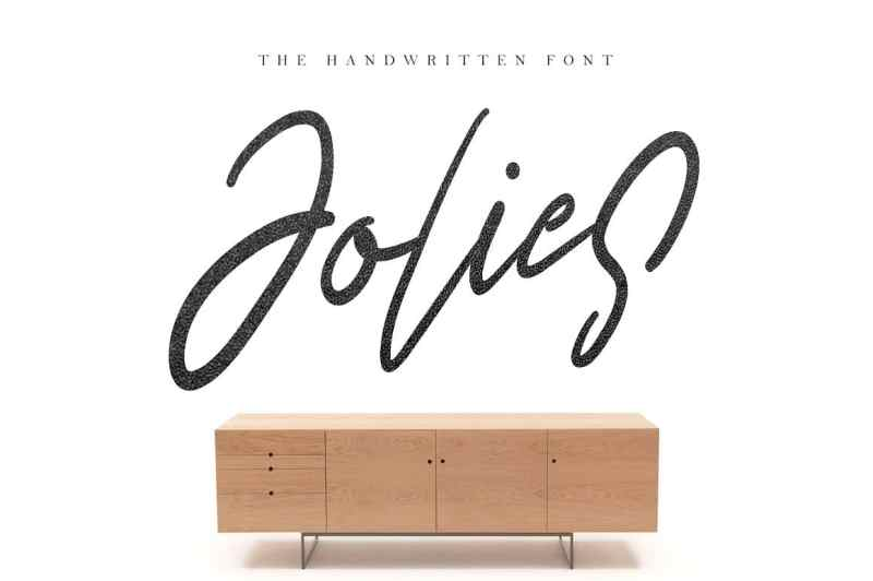 Jolies is handwritten modern stylish fonts, combines from classic to modern typeface with a clean design baseline. Can be used for various purposes, such as headings, signature, logos, wedding invitation, t-shirt, letterhead, signage, lable, news, posters, badges etc.