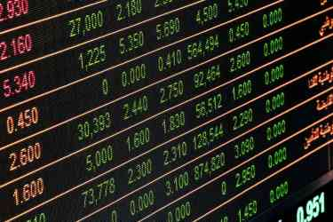 Green stock tickers