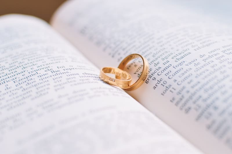 wedding rings laying on top of a novel book