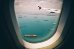 airplane about to land in singapore airport