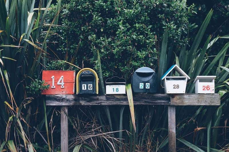 Mailboxes with different home numbers
