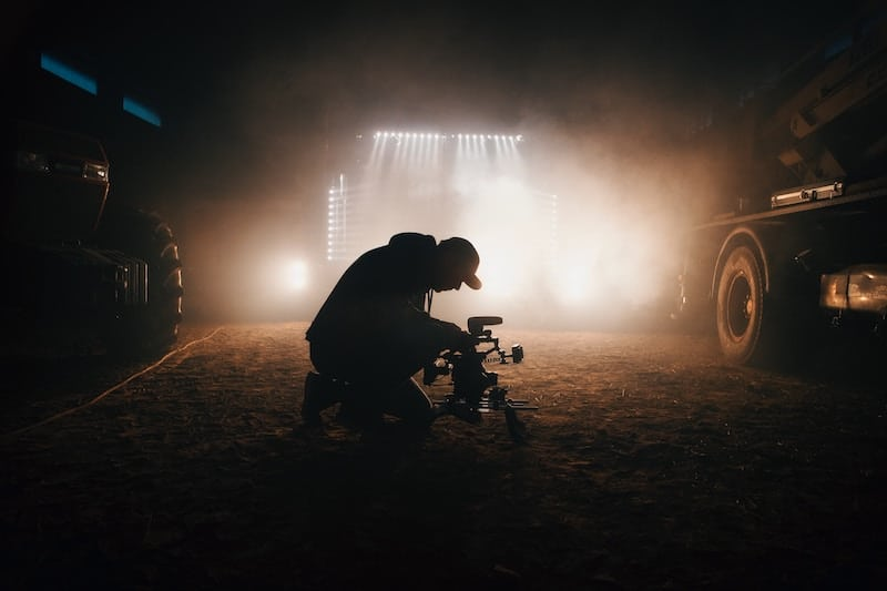 Man Filming a music video during night