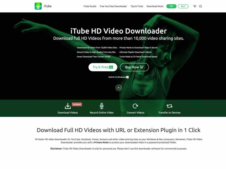 iTube HD Video Downloader can download videos from YouTube and other video-sharing websites and convert videos to any video and audio format in HD 4K, 1440P, 1080P, etc.