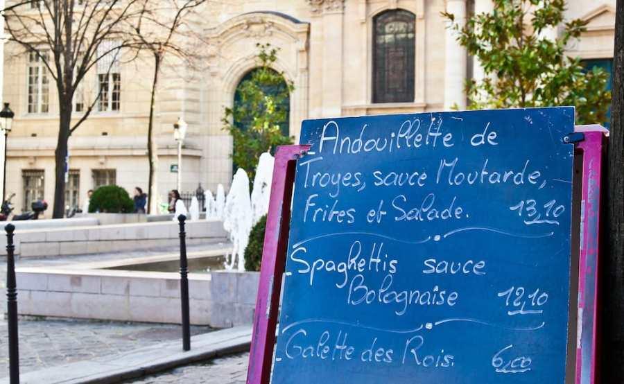 Paris - Menu in a restaurant