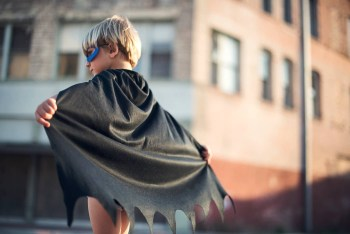 Kid pretending He is Batman