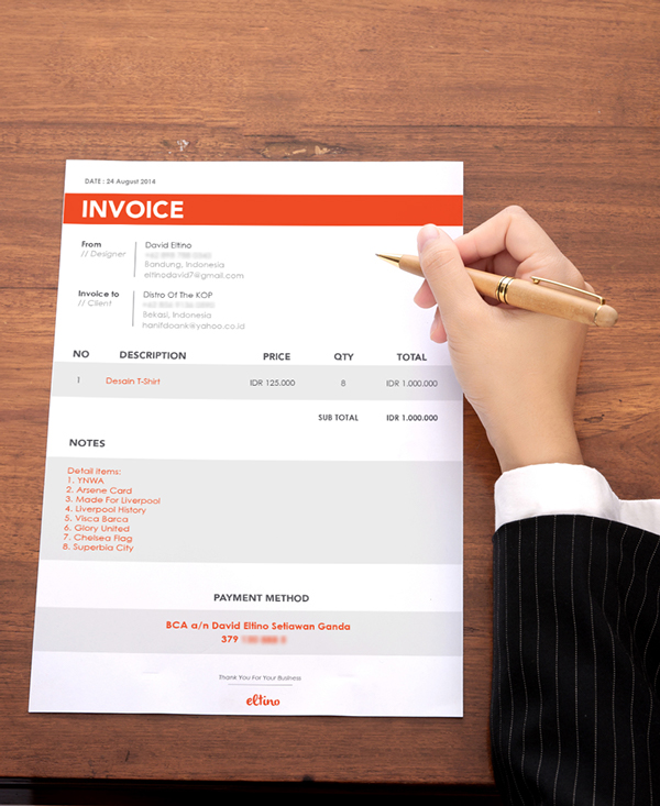 Don t Hold Back on Your Invoice  25 Inspiring Designs   Inspirationfeed Invoice Design by David Eltino