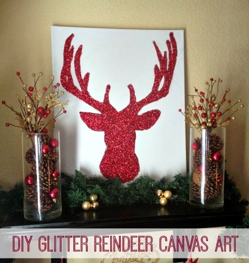 Learn how to make your own Glitter Reindeer Canvas Art! Easy tutorial!