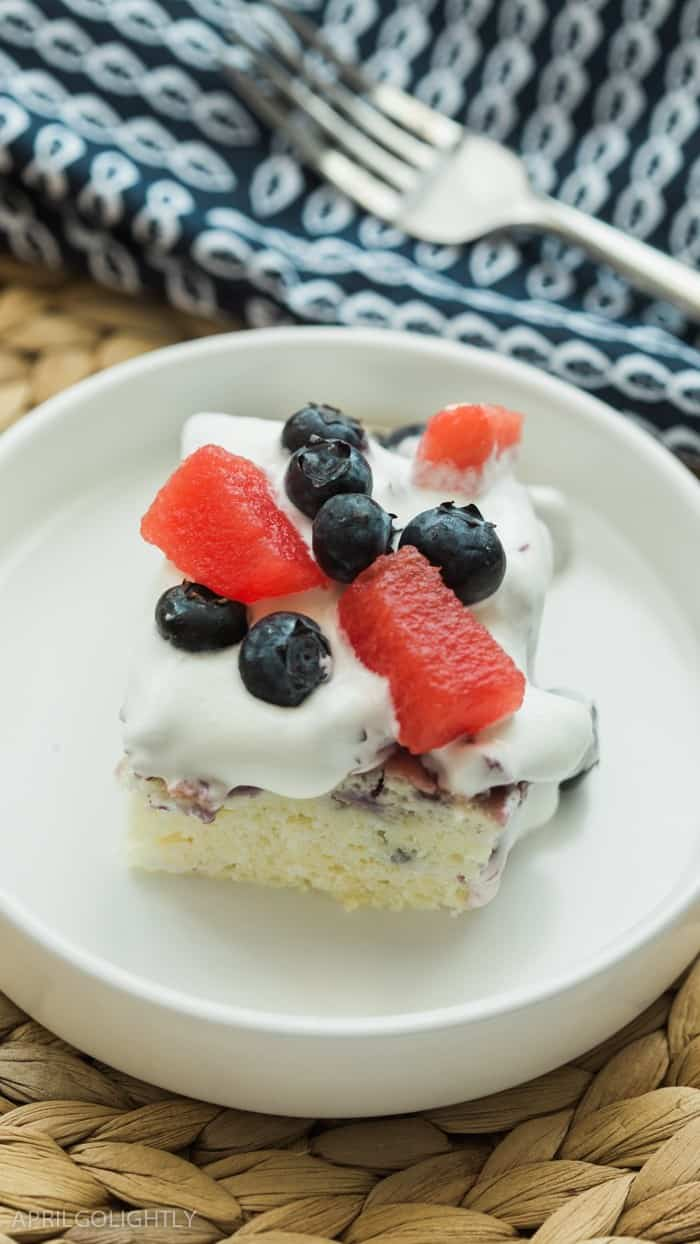 Blueberry Watermelon Poke Cake
