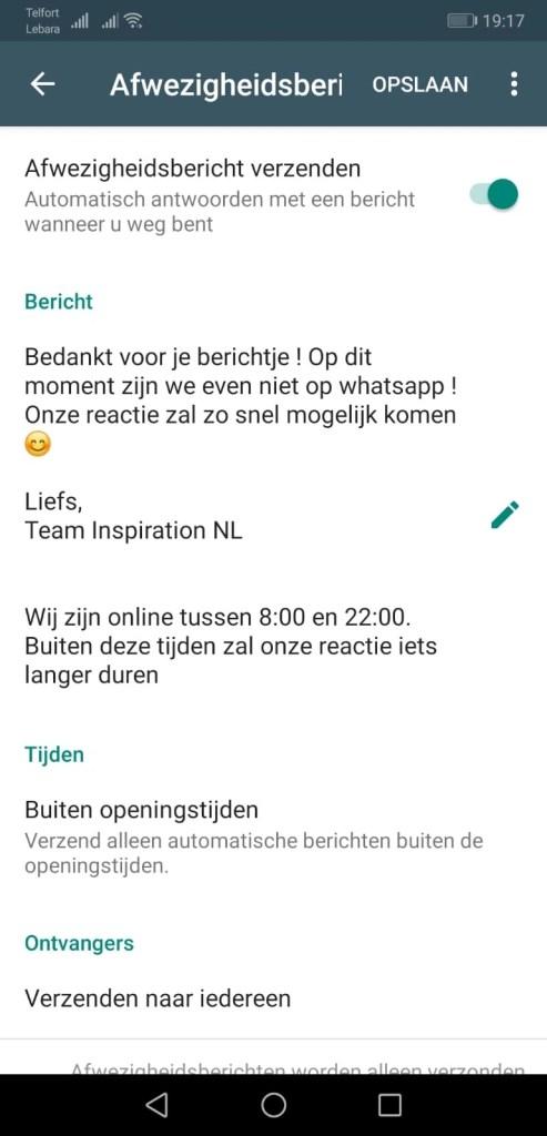 Afwezigheidsbericht - Whatsapp Business