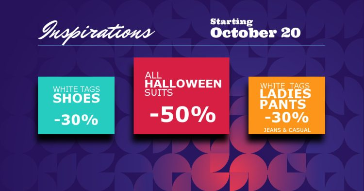 October 20th promotion on shoes, pants and halloween suits