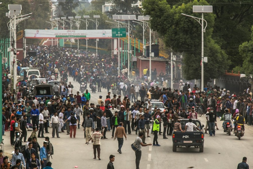 Thousands take to the streets for safety away from buildings.