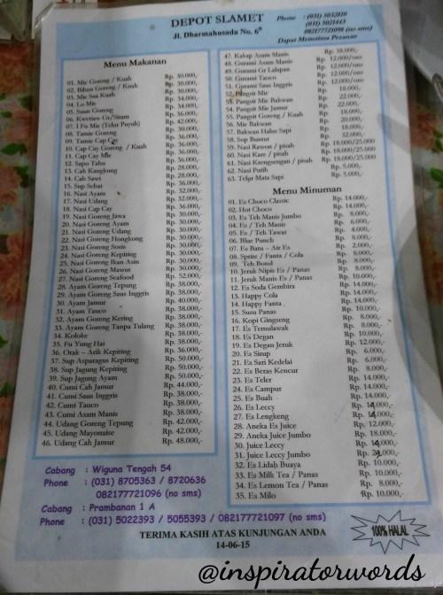 menu depot slamet
