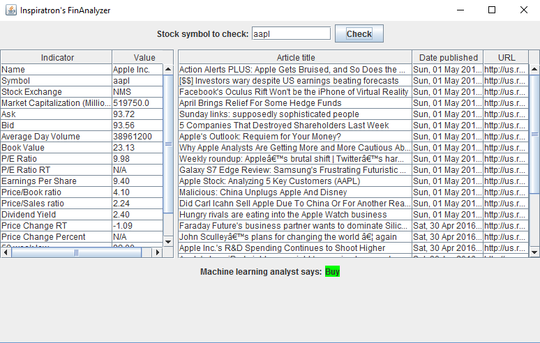 FinAnalyzer Screen