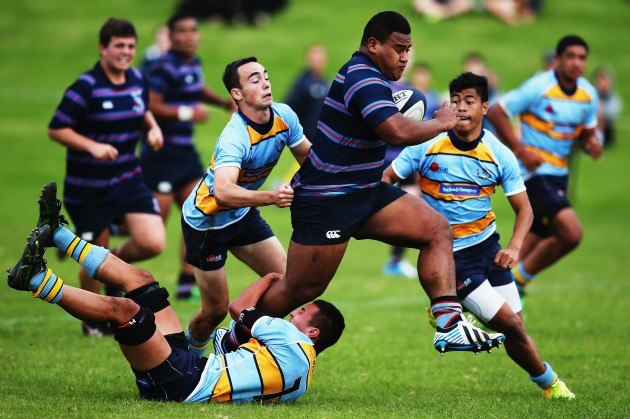 Tongan Thor: Taniela Tupou, here on the charge for Scared Heart College, has been snapped up by the Queensland Reds