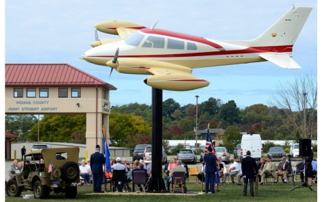 Jimmy Stewart Cessna 310 Monument Dedicated in Indiana, Pennsylvania