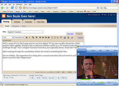 Screenshot of blogging while Idol is playing