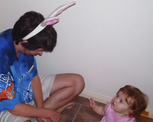 Daddy (Ben) explains the Easter bunny to Emma