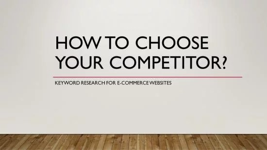 SEO for ECommerce: How to Choose your first competitor