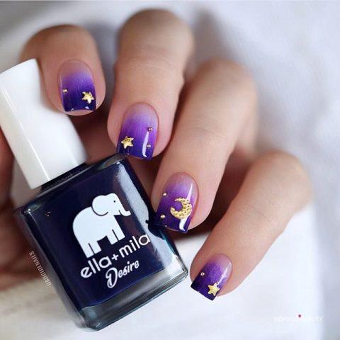 Cute Gold Stars over Purple Ombre Sky