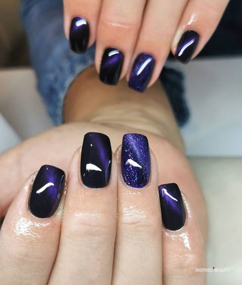 Purple Galaxy Nail Design