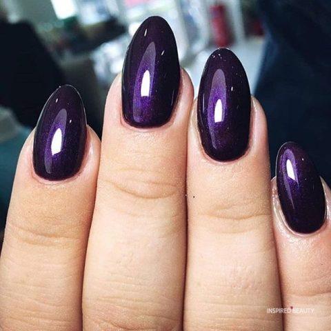 Dark purple almond nails
