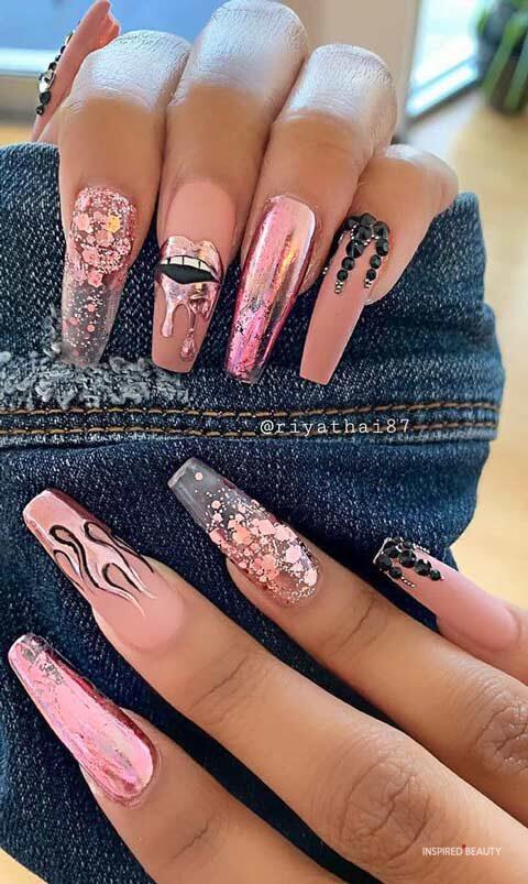 Long acrylic nail designs