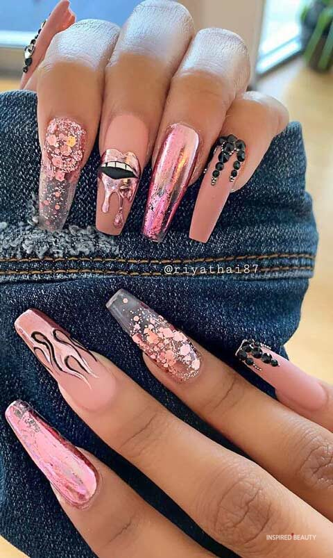 Long acrylic nail designs
