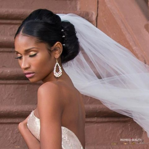 black wedding hairstyles with veil