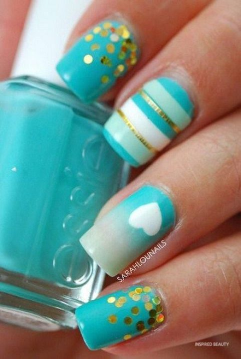 Blue Acrylic Nail Art Design