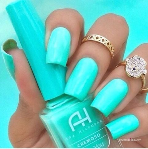 Green Blue acrylic nail