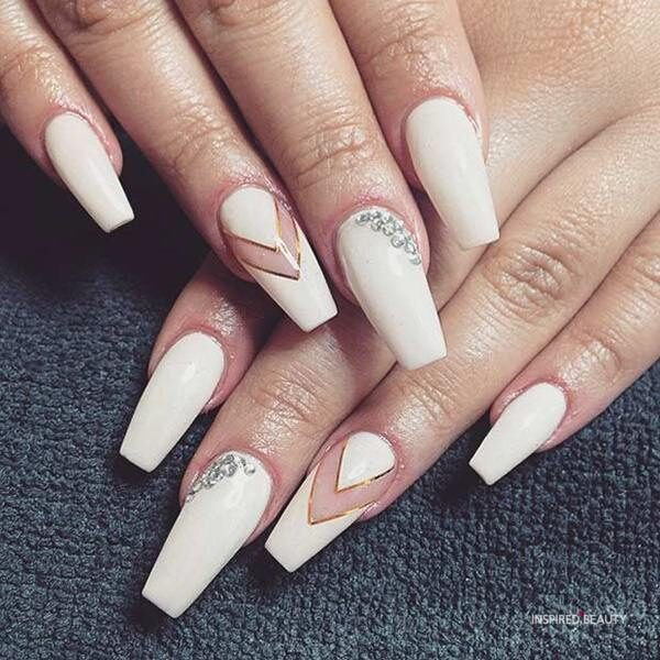 Cream Coffin Nail ideas