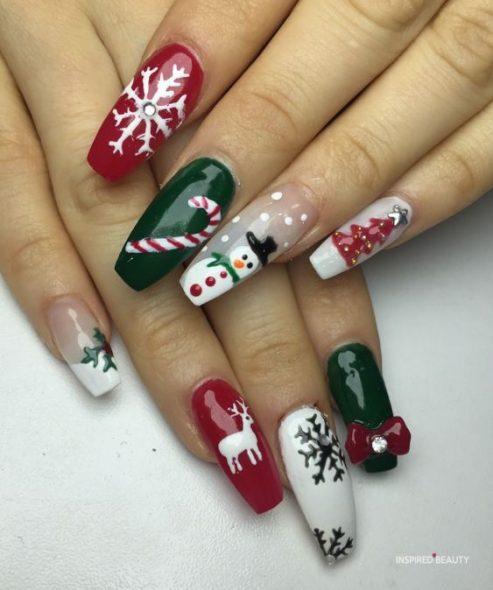 Festive gel nails