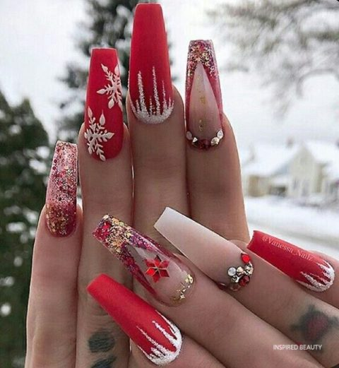Red and White Nails Coffin