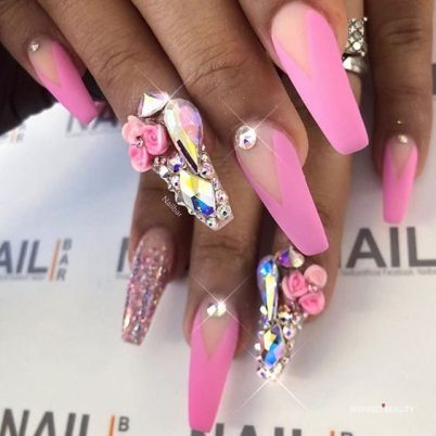 Multicolor nails with gems