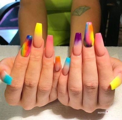 long coffin nail designs muti color nails