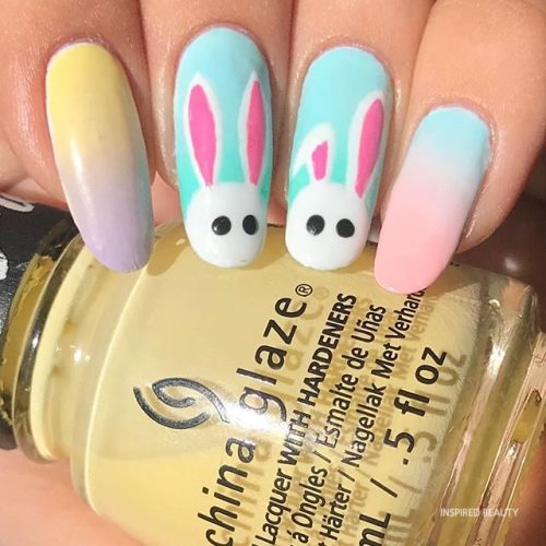 easter nails with bunny