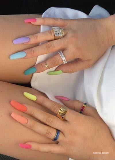 multi colored nails acrylic