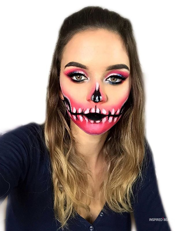 White Pink and Black Skull face makeup