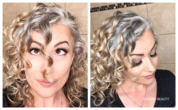 Growing out grey transition hair with highlights