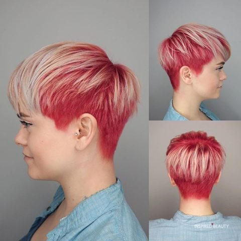 shaved haircuts for women Bright raspberry to blonde