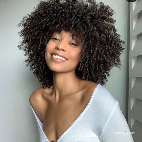 Tight curly bob hairstyle