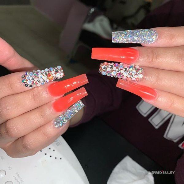 Long Coffin Nails With Rhinestones, orange summer