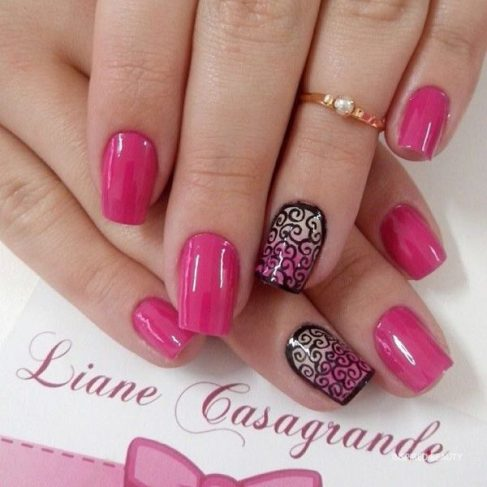 Hot Pink and Black Nail
