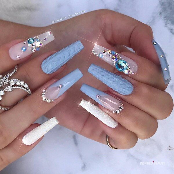 Winter Long Coffin Nails With Rhinestones