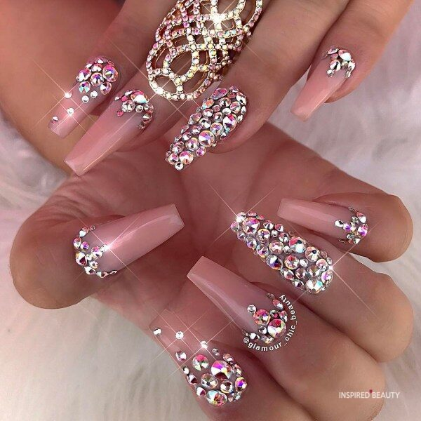 Long Coffin Nails With Rhinestones pink
