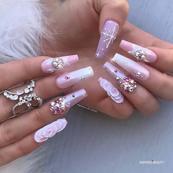 Long Coffin Nails With Rhinestones winter nail