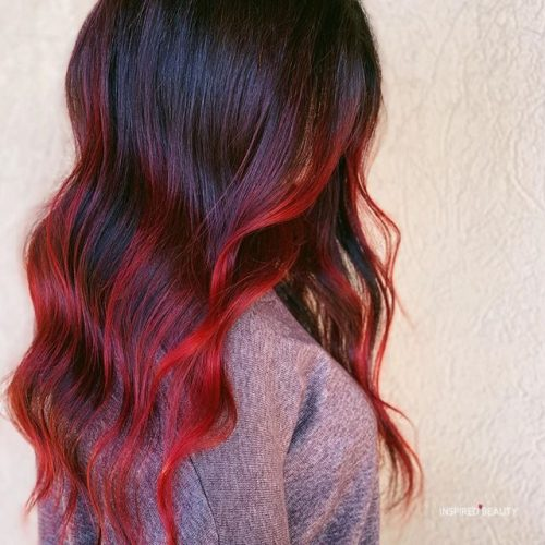 red and black balayage hair